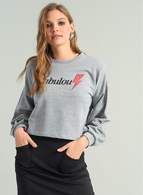 Agenda Fabulous Baskılı Crop Sweatshirt Gri